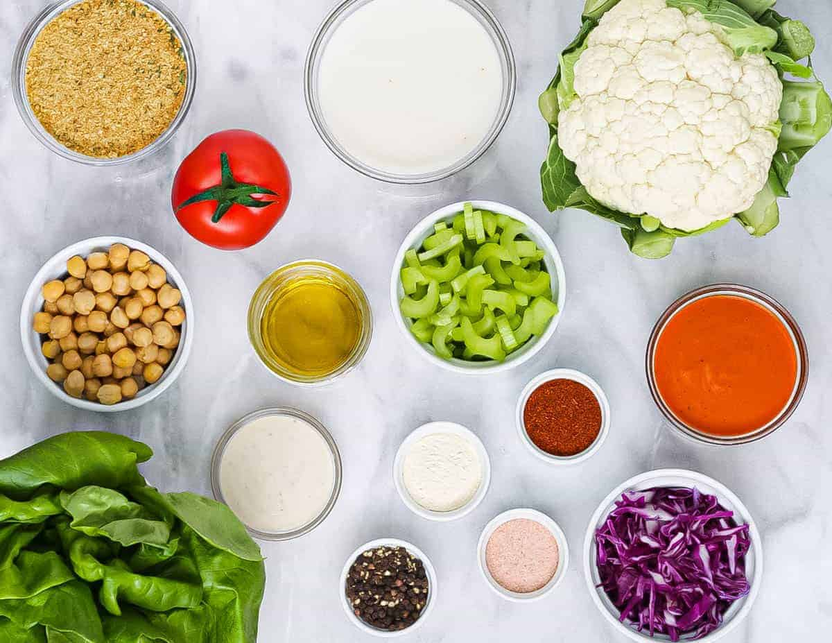 Ingredients laid out in circular bowls.