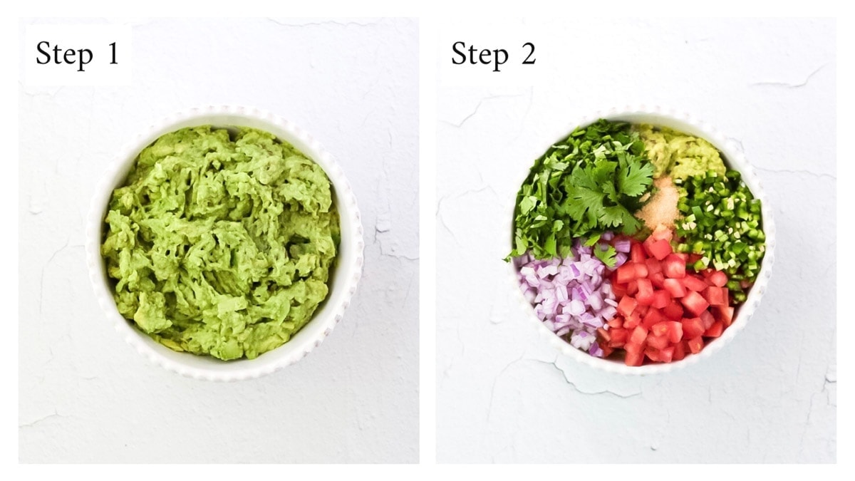 A side-by-side picture of mashed avocado, and a second bowl of all guacamole ingredients.