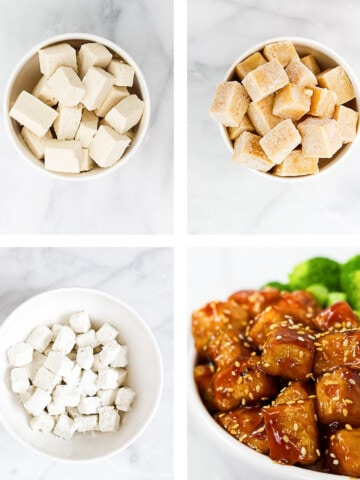 4 step by step pictures of how to make tofu. the first is of regular, cut tofu, the second is frozen tofu, the third is tofu coated in cornstarch, and the final is of a finished bowl of sesame tofu.