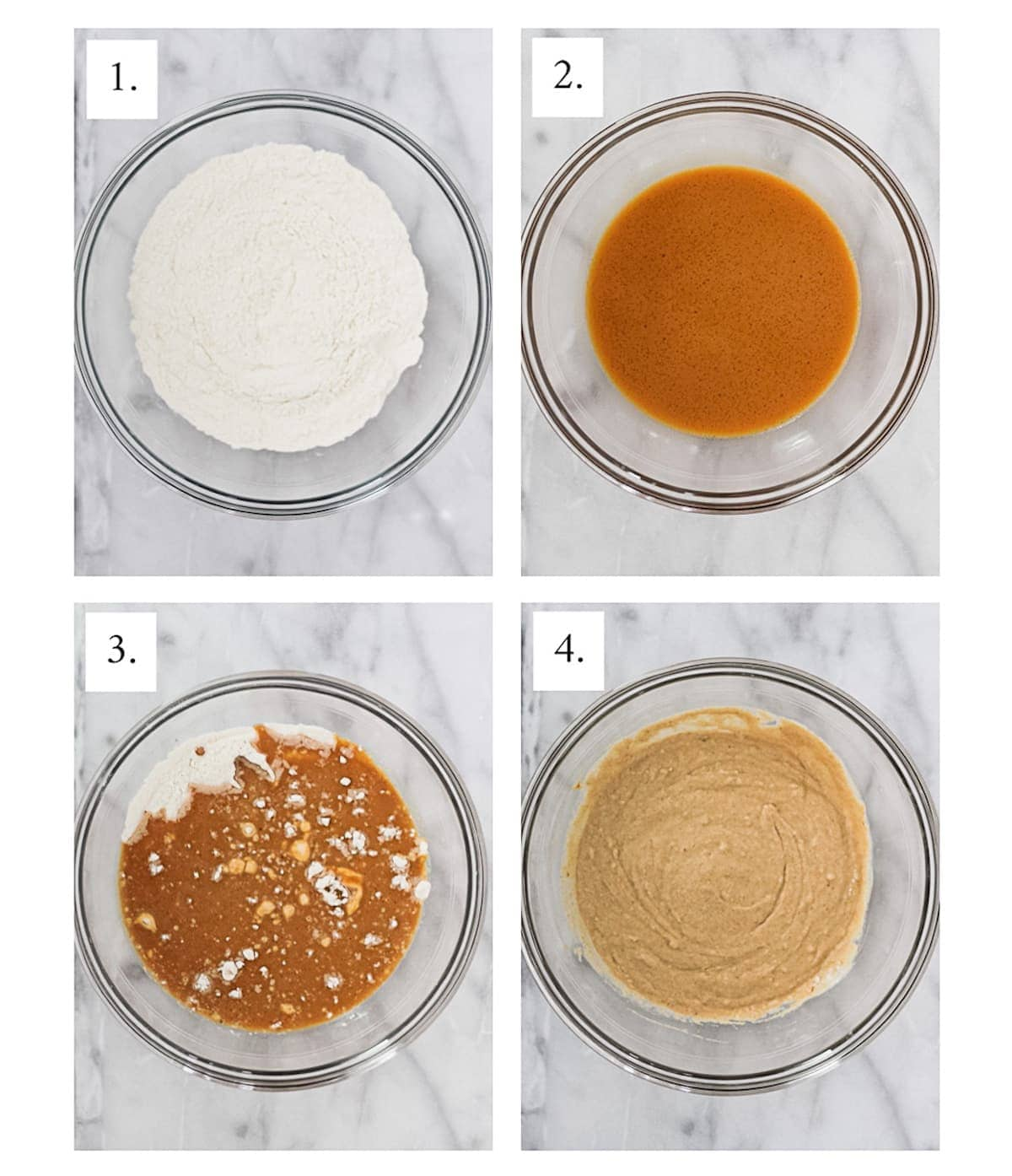 Step by step process pictures of making pumpkin pancakes. Picture 1 is the dry ingredients in a clear bowl, 2 is the wet ingredients in a clear bowl, 3 is the combined ingredients in a clear bowl, and 4 is everything well mixed in a clear bowl.