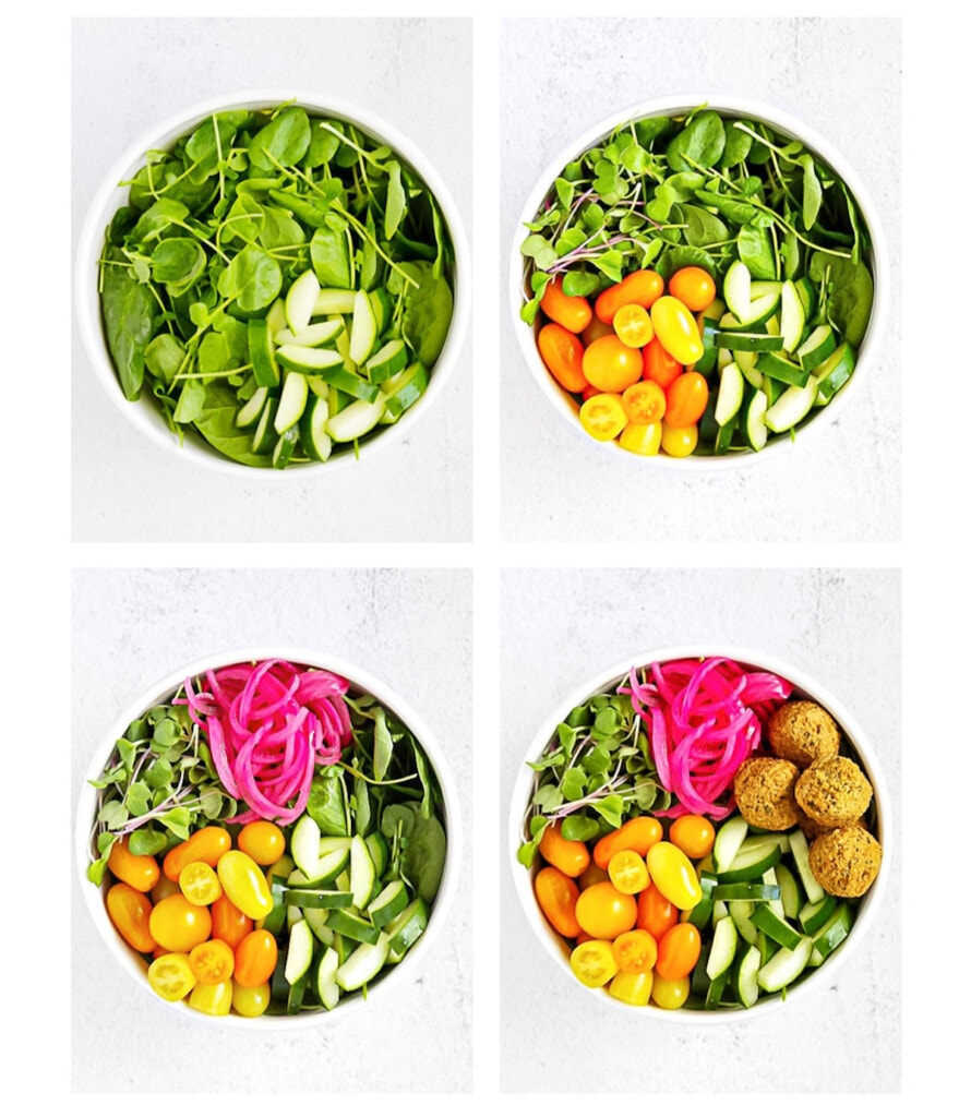 4 pictures of white bowls the first with greens and cucumbers, the second adds orange tomatoes, the third adds pickled red onion, the last picture adds falafel.