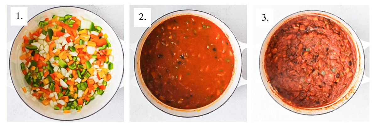 Three pictures of step-by-step instructions. The first picture is a large white pot with peppers and onions, the second is all of the ingredients in the pot, mostly looking like a red/orange soupy chili, the third picture is the cooked chili.